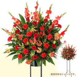 お祝いスタンド花1段(赤系)