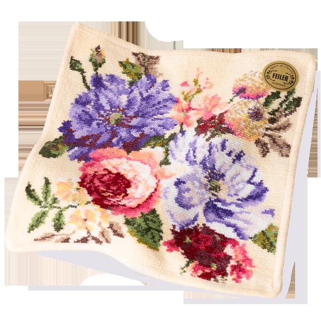 美しい花園のデザイン【フェイラー】フルラージュハンカチ|花キューピットの敬老の日におすすめ!人気のプレゼント特集 2019