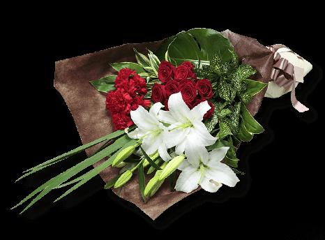 613234 華やぎの花束~フラワーベースを添えて~