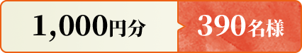 1000円分 390名様