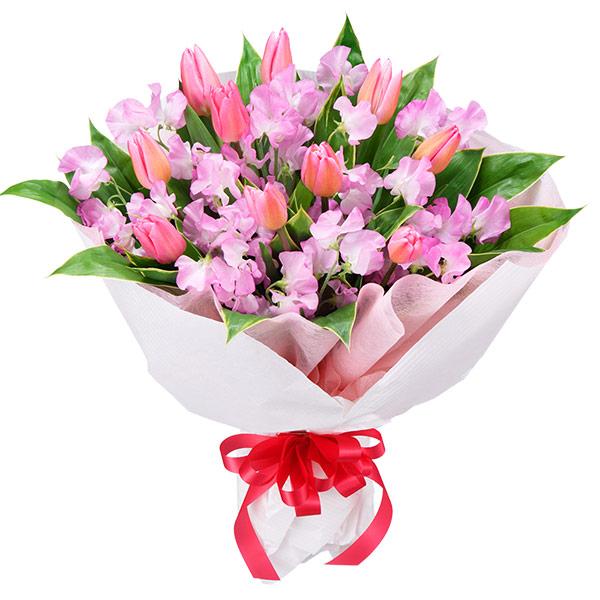 【チューリップ特集】チューリップとスイートピーの花束 111035 |花キューピットの2019チューリップ特集特集