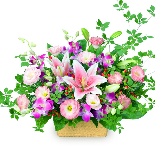 【誕生日フラワーギフト】ピンクユリとデンファレのアレンジメント