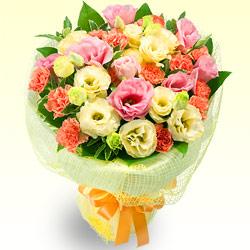【誕生日フラワーギフト】トルコキキョウの花キューピットブーケ
