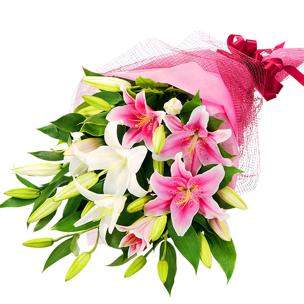 【誕生日フラワーギフト】2色ユリの花束
