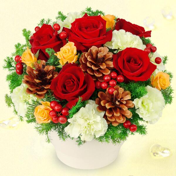 【クリスマスフラワー】赤バラのウィンターアレンジメント 511087 |花キューピットの2019クリスマスフラワー特集