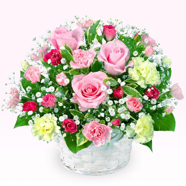 【誕生日フラワーギフト】ピンクバラのアレンジメント