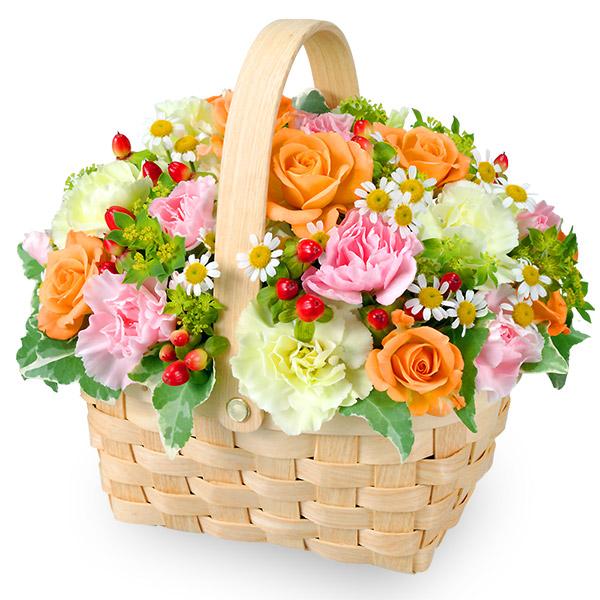【誕生日フラワーギフト】オレンジバラのウッドバスケット