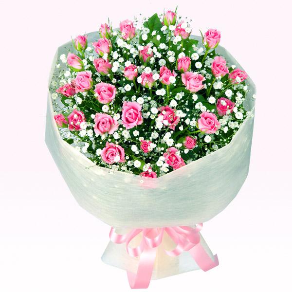 【誕生日フラワーギフト】ピンクスプレーバラの花束