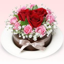 【結婚記念日】フラワーケーキ(レッド&ピンク)