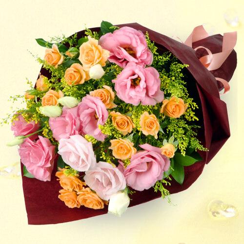【お祝い】オレンジバラとトルコキキョウの花束