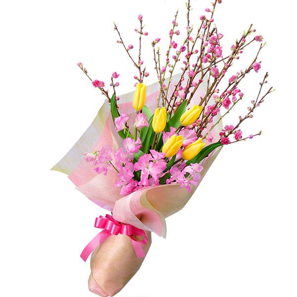 【ひな祭り】桃の花とチューリップの花束 511229 |花キューピットのひな祭り