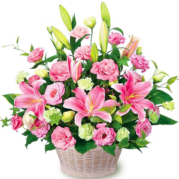 【誕生日フラワーギフト・ユリ】ピンクユリとトルコキキョウのアレンジメント
