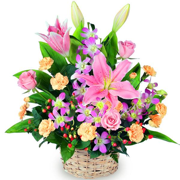 【誕生日フラワーギフト・ユリ】ピンクユリのアレンジメント