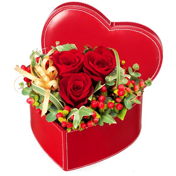 【クリスマスフラワー ランキング】赤バラのハートボックスアレンジメント