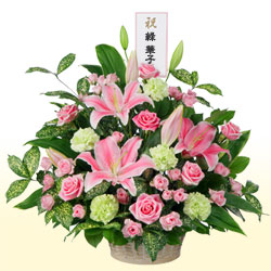【ご昇進・ご栄転(法人)】ピンクユリのバスケットアレンジメント