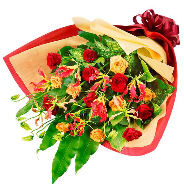 【誕生日フラワーギフト】バラとグロリオサの花束