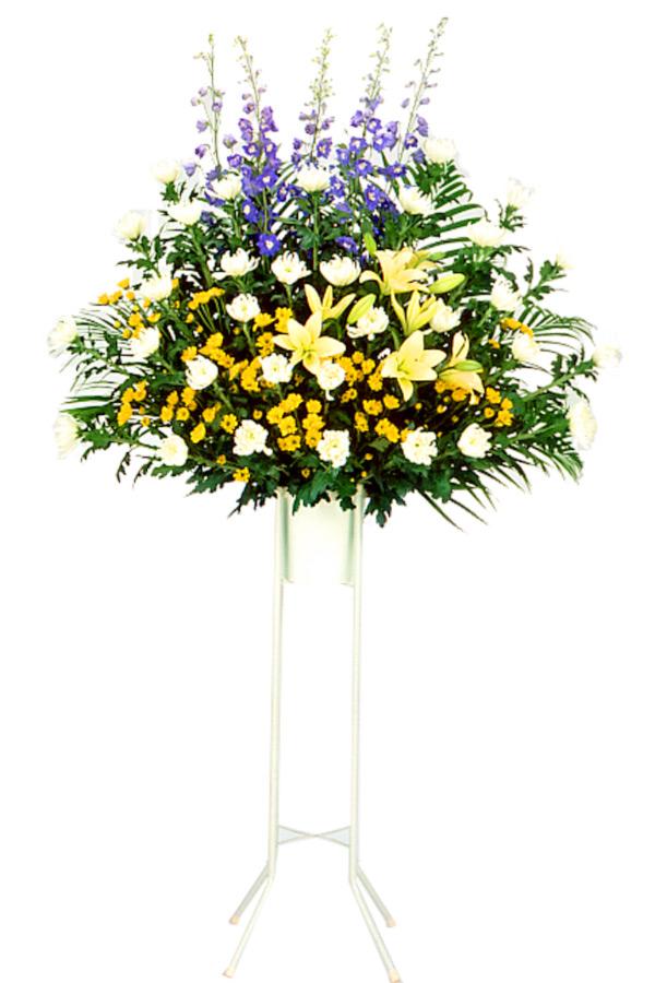 【スタンド花・花輪・当日配達(葬儀・葬式の供花)】お供え用スタンド1段(色もの)