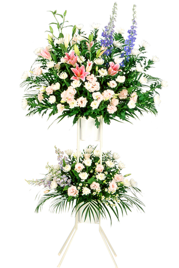 【スタンド花・花輪・当日配達(葬儀・葬式の供花)】お供え用スタンド2段(色もの)