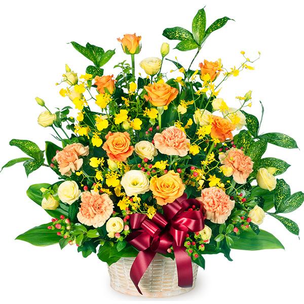 【誕生日フラワーギフト】オレンジバラのリボンアレンジメント