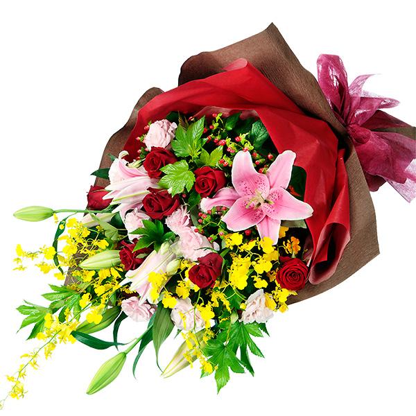 【6月の誕生花(ユリ等)】ピンクユリと赤バラのミックス花束