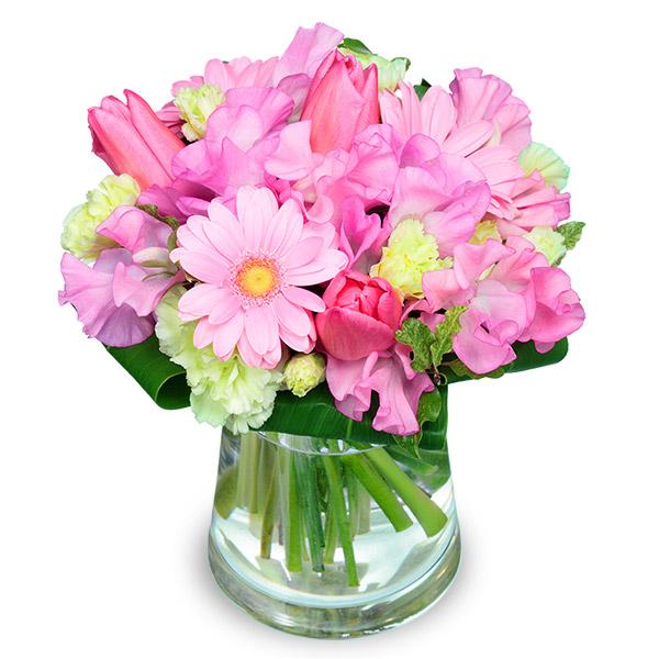 【ホワイトデー】チューリップとガーベラのグラスブーケ 511553 |花キューピットのホワイトデー