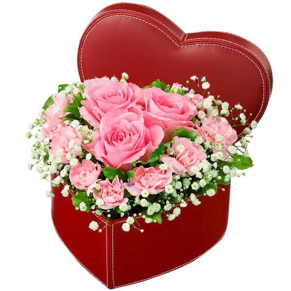 【誕生日フラワーギフト】ピンクバラのハートボックスアレンジメント