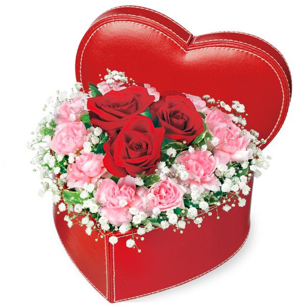【誕生日フラワーギフト】赤バラのハートボックスアレンジメント