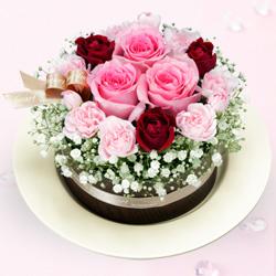 【結婚祝】ピンクバラのフラワーケーキ