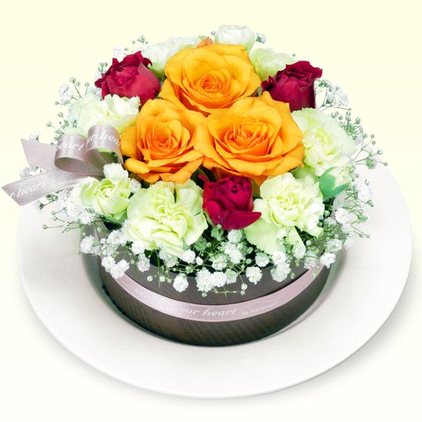 【お祝い】オレンジバラのフラワーケーキ
