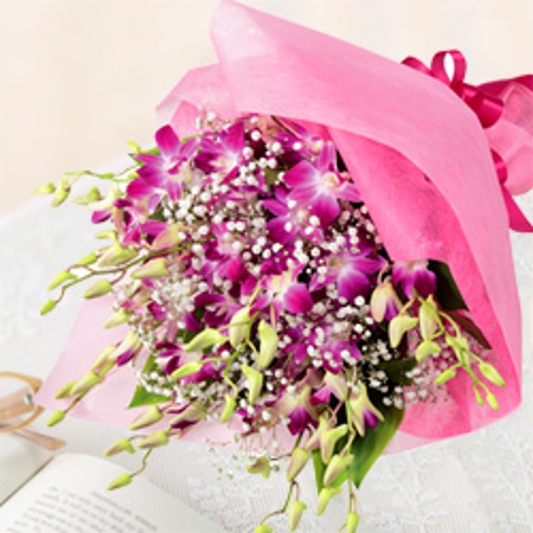 【誕生日フラワーギフト】ピンクデンファレの花束
