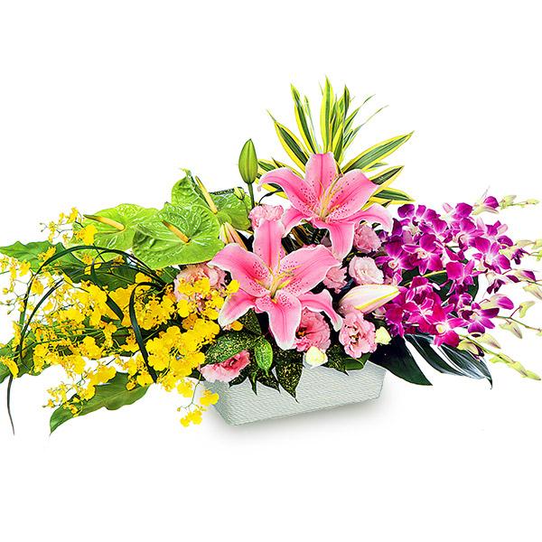 【6月の誕生花(ユリ等)】ユリとデンファレのアレンジメント