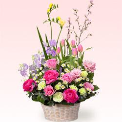 【開店祝い・開業祝い】春のバスケットアレンジメント(ピンク)