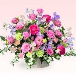 【1月の誕生花(スイートピー等)】バラとスイートピーのアレンジメント(ピンク)