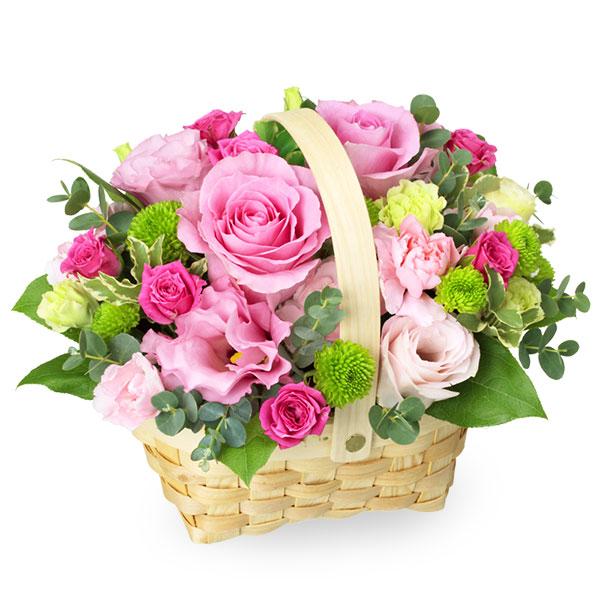 【秋のバラ特集】ピンクバラのウッドバスケットアレンジメント 511726 |花キューピットの2019秋のバラ特集