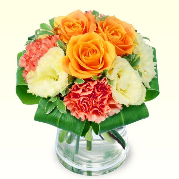 【誕生日フラワーギフト】オレンジバラのグラスブーケ