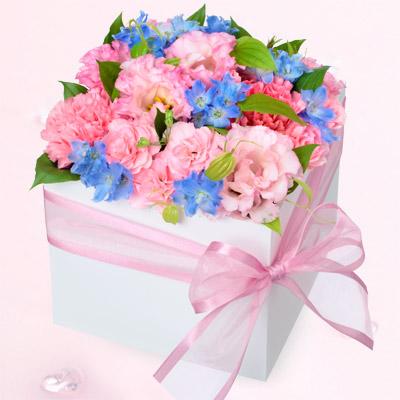 【誕生日フラワーギフト】トルコキキョウのスクエアアレンジメント