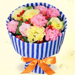 【誕生日フラワーギフト・トルコキキョウ】花キューピットブーケ(ストライプ)