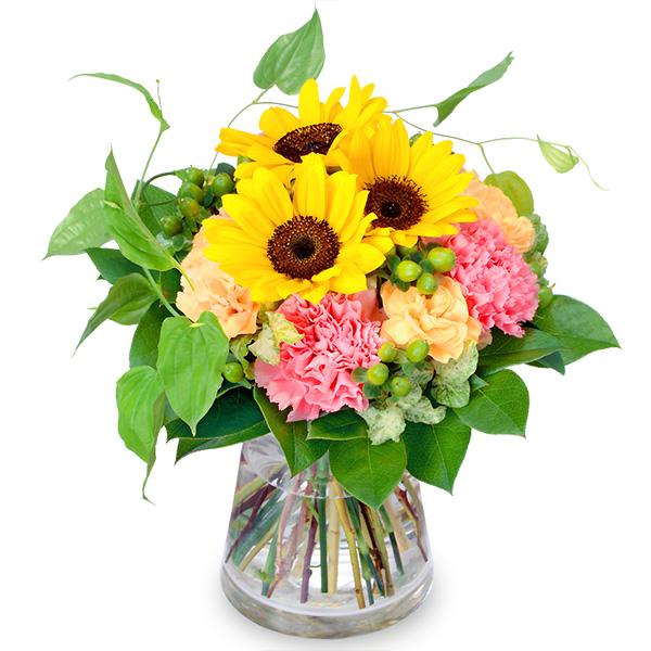 【父の日】ひまわりとカーネーションのグラスブーケ 511759 |花キューピットの父の日フラワーギフト特集2020