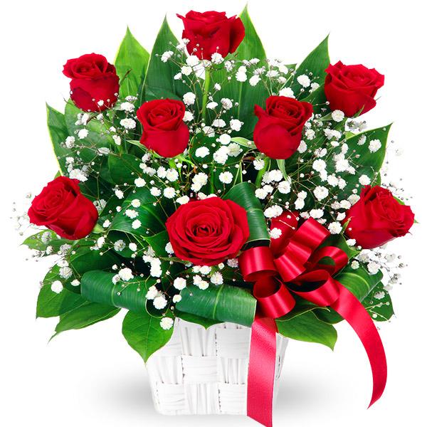 【秋のバラ特集】赤バラのリボンアレンジメント 511764 |花キューピットの2019秋のバラ特集