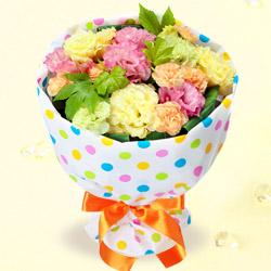 【誕生日フラワーギフト・トルコキキョウ】トルコキキョウの花キューピットブーケ(カラフルドット)