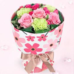【予算で選ぶ  3000円から】ピンクバラの花キューピットブーケ(フラワー)