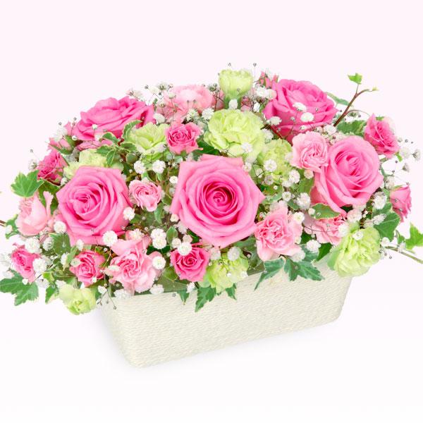 【お見舞い】ピンクバラのオールラウンドアレンジメント