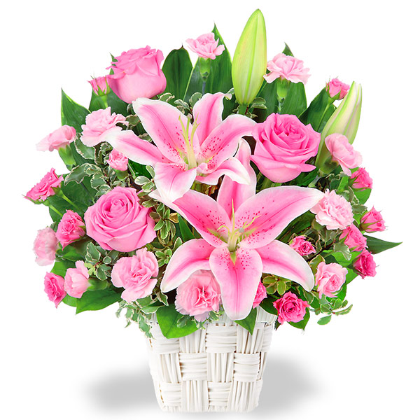 【お祝い】ユリとピンクバラのアレンジメント