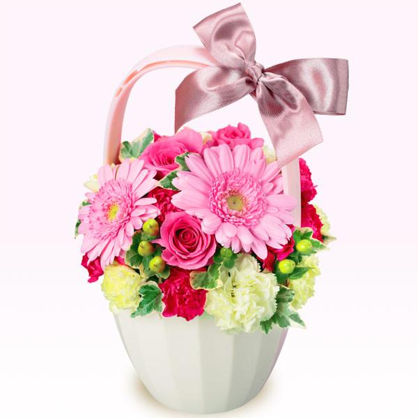 【3月の誕生花(ピンクガーベラ等)】ピンクガーベラとバラのアレンジメント