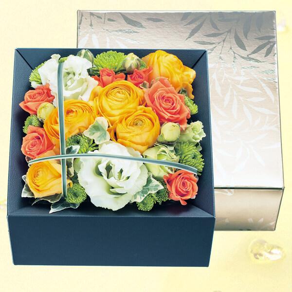 【春の誕生日】ラナンキュラスのボックスフラワー(シャンパンゴールド) 511827 |花キューピットの2020春の誕生日特集