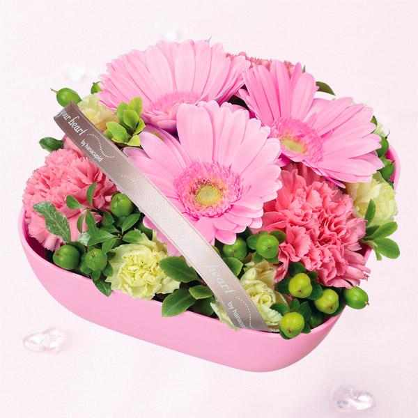 【お祝い】ピンクガーベラのリボンアレンジメント