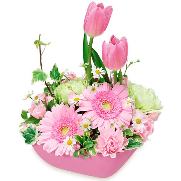 【3月の誕生花(ピンクガーベラ等)】チューリップとガーベラのアレンジメント(ピンク)