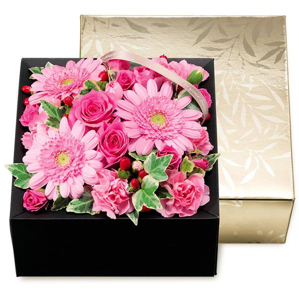 【結婚祝】ピンクガーベラのボックスフラワー(シャンパンゴールド)