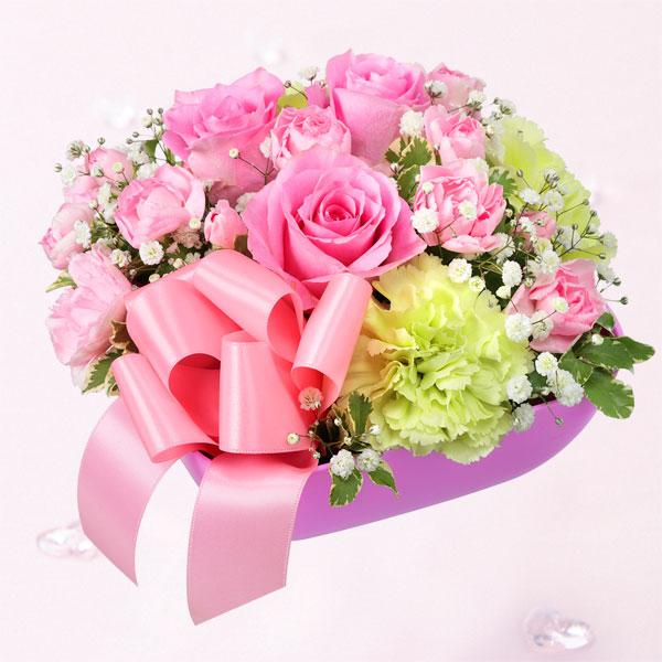 【結婚記念日】ピンクバラのリボンアレンジメント