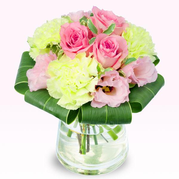 【誕生日フラワーギフト】ピンクバラのグラスブーケ